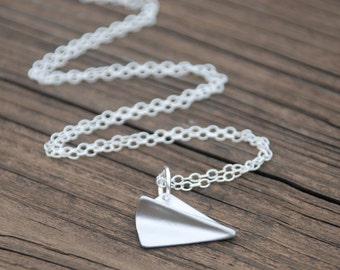 Silver, Origami, Paper Airplane, Sterling Silver Necklace, plane necklace, Origami jewelry, Graduation Gift, Memorial gift