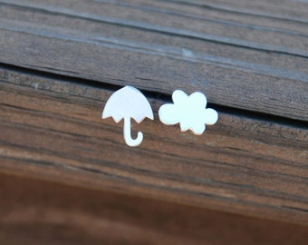 I met you in the rain, Tiny, Silver, Cloud and Umbrella studs, Sterling Silver Posts, Cloud, Umbrella, Birthday gift, sweet 16 gift