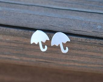 Lovely, Silver, Umbrella Stud Earrings, Sterling Silver Posts, Umbrella posts, Umbrella Earrings, Birthday gift, Sweet 16 gift