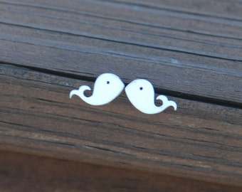 Lovely Tiny Silver Whale Stud Earrings, Sterling Silver Posts, Whale studs, Whale posts, Whale Earrings, Sweet 16 gift