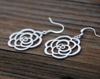 Large Silver Rose Earrings