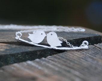 Reversible Love Birds Swing Sterling Silver Necklace
