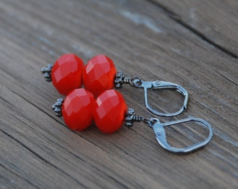 Opaque Orange Faceted Glass Rondelle Gun Metal Earrings