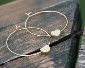 In Love - Gold Heart Hoop Earrings