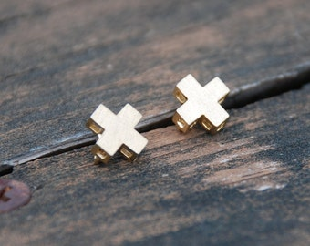 Gold, 3D XX, Cross, Stud Earrings, Sterling Silver Posts, Cross posts, xx studs, Birthday gift, Mother's day gift