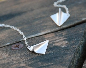 Origami, Flying, Paper Airplane Earrings, Sterling silver chain, dangling earrings, Origami jewelry, Graduation Gift, Memorial gift