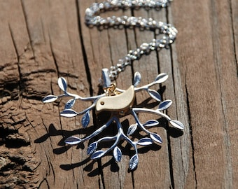 Bird On The Tree---Sterling Silver Chain Necklace