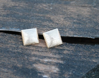Mini Puff---Square Stud Earrings with Sterling Silver Posts (GOLD)