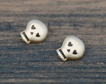 In Love, GOLD, SKULL Studs, Sterling silver posts, Skull earrings, Skull posts, Elegant Skull Jewelry, Dainty Jewelry
