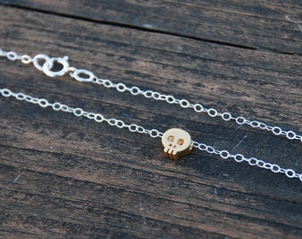 Mixed tone, Tiny SKULL Necklace, Sterling silver necklace, feminine skull jewelry, Elegant Skull Jewelry, Dainty Jewelry