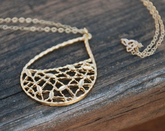 Gold Leaf Net Drop Necklace, 14K Gold Filled Chain, Leaf Necklace, Mother's Day gift, Birthday gift
