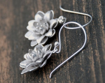 Silver Blooming Flower Sterling Silver Earrings, Bridal Jewelry, Bridesmaids Gift, Weddings, Anniversary, Birthday gift