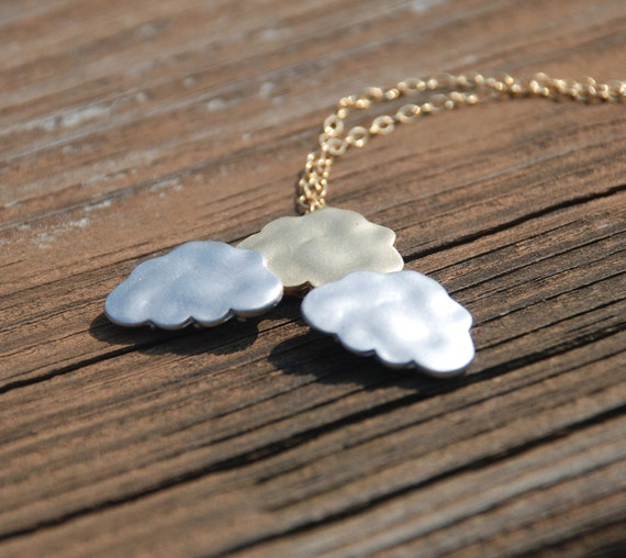 Two Tone Clouds 14k Gold filled or Sterling Silver Necklace