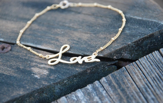 Reserved for minzleong---Forever LOVE 14k Gold Filled Chain Anklet
