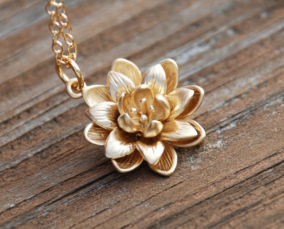 Gold Blooming Flower 14K Gold Filled Necklace,Bridal Jewelry, Bridesmaids Gift, Weddings, Anniversary, Birthday gift