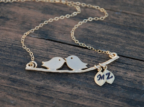 Gold, Hand Stamped Initials, Leaves, Love Birds, Swing, 14K Gold Filled Necklace, Family, Personalized jewelry, Anniversary gift
