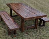 Handmade heirloom eclectic farm house plank style dining table with rustic distressed features. Denver, CO