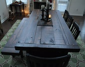 Handmade heirloom eclectic farm house plank style dining table with rustic distressed features. Atlanta, Georgia