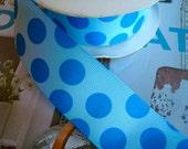 """Light Blue Polka  Dot 1"""" Grosgrain Ribbon"""