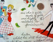 Cotton fabric yardage  love  couples kitschy Damsel in Stress How to find a husband