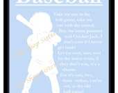 Baseball Boy Ball Game Song Silhouette Blue and White  8 x 10 Print Wall Art FREE Shipping