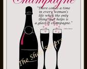Champagne Bottle Glasses Bette Davis 8 x 10 Print Wall art FREE SHIP