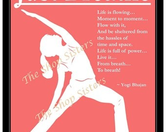 Inspirational Yoga Silhouette Reverse Warrior Pose  Coral and White 8 x 10 Print Wall art FREE shipping
