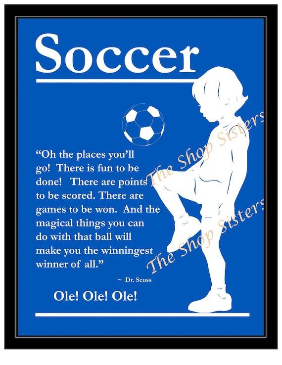 Soccer Boy Olympics Team Silhouette  Blue 8 x 10 Print Wall art FREE SHIPPING Inspirational