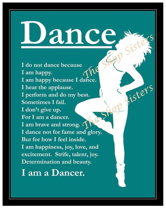 dancer inspirational print wall art silhouetteteal blue green