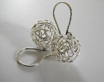 Silver Ball Earrings, Wire Ball Sterling Silver Dangle Earrings, Drop Ball Earrings