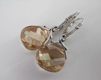Golden Shadow Sterling Silver Dangle Earrings