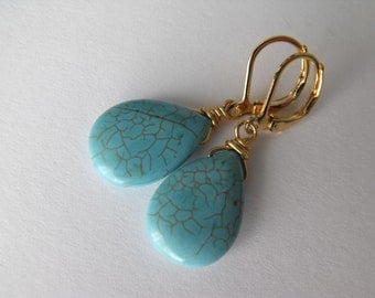 Turquoise Earrings, Howlite Gold Dangle Earrings