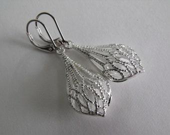 Silver Filigree Earrings, Puffy Drop Earrings, Sterling Silver Dangle Earrings