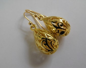 Filigree Pear Drop Earrings, Gold Dangle Earrings