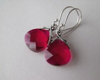 Ruby Earrings, Swarovski Crystal Earrings,  Sterling Silver Earrings,Raspberry Dangle Earrings