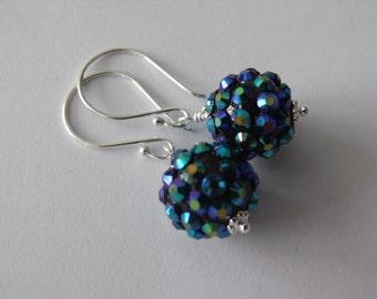 Bermuda Blue Rhinestone Ball Sterling Silver Dangle Earrings