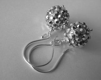 Silver Sparkle Earrings, Rhinestone Ball Drop Earrings, Sterling Silver Dangle Earrings