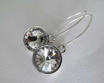 Wedding Jewelry Bridal Earrings, Swarovski Crystal Rivoli, Modern Sterling Silver Dangle Earrings