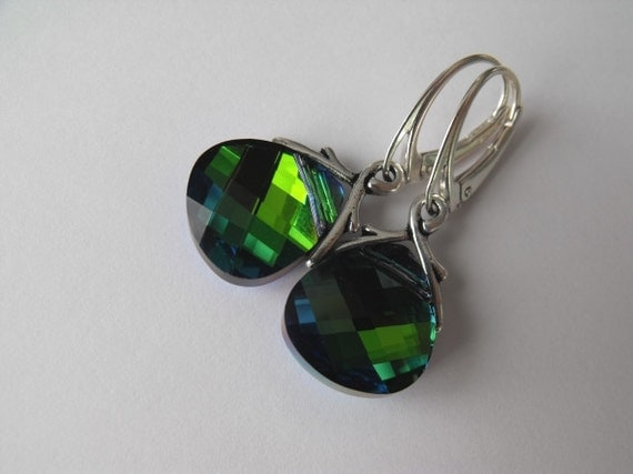 Sphinx Green Drop, Northern Light, Sterling Silver Dangle Earrings