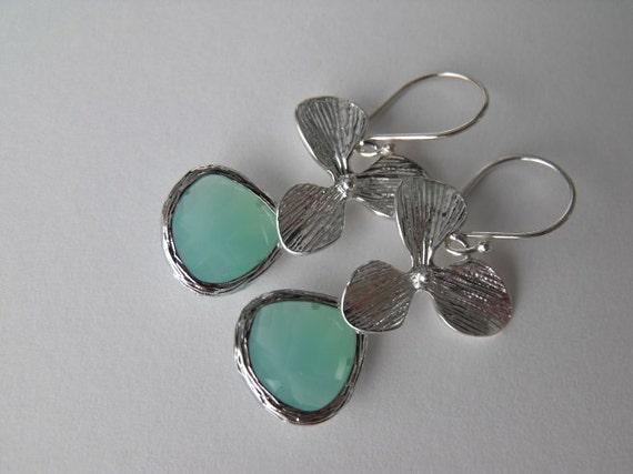 Ocean Blue Orchid Sterling Silver Earrings