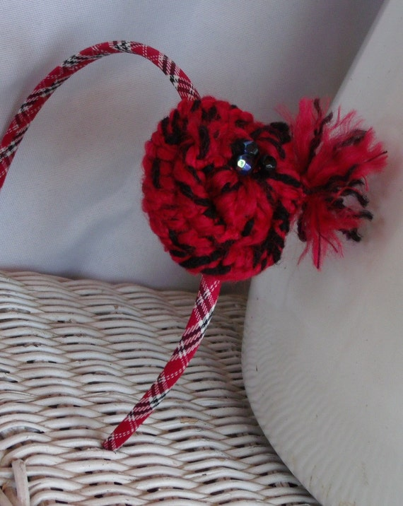 School Girl Chic Moulin Rouge Rosette Head Band with Red and Black Yarn and Black Beads HANDSEWN