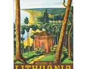 LITHUANIA 1- Handmade Leather Wall Hanging - Travel Art