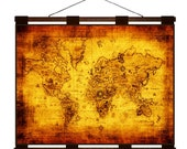 ANTIQUE WORLD Map 1M- Handmade Leather Wall Hanging - 24x18 Travel Art