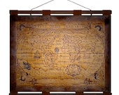 ANTIQUE WORLD 1587 Map- Hand Burned Leather Wall Hanging -24x18 in.