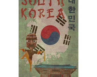 SOUTH KOREA 1F- Handmade Leather Wall Hanging - Travel Art