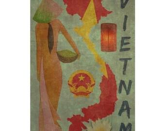 VIETNAM 1F- Handmade Leather Wall Hanging - Travel Art