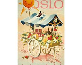 OSLO Norway 5- Handmade Leather Wall Hanging - Travel Art