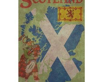 SCOTLAND 1F- Handmade Leather Wall Hanging - Travel Art
