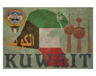 KUWAIT 1F- Handmade Leather Wall Hanging - Travel Art