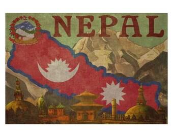 NEPAL 1F- Handmade Leather Wall Hanging - Travel Art